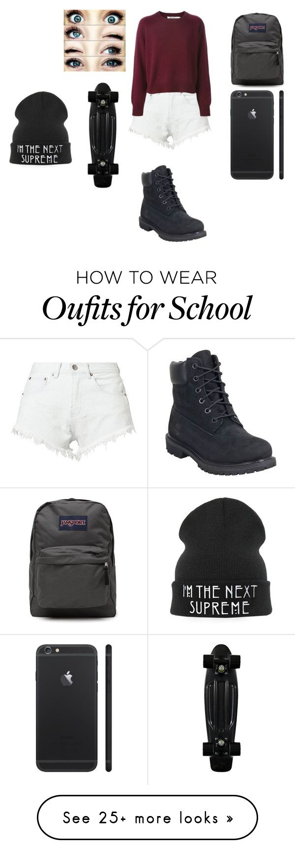 """School"" by sorry-im-me on Polyvore featuring Bitching & Junkfood, Timberland, JanSport and CO"