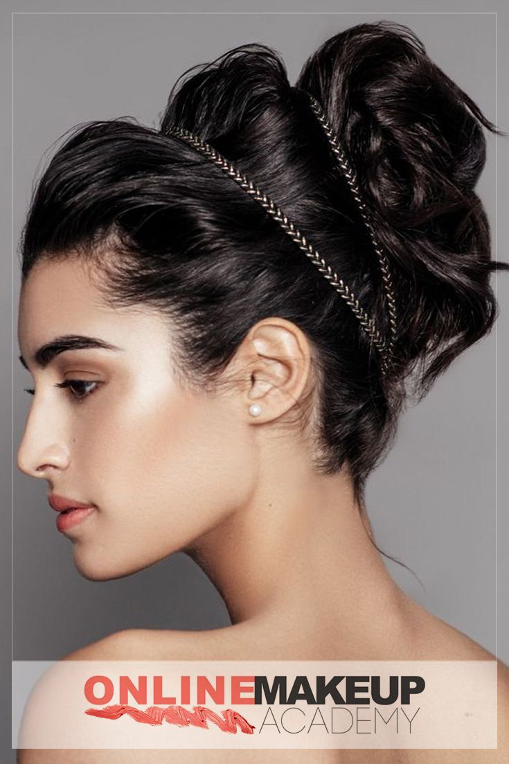 A beautiful hair updo created during editorial photoshoot by Online Makeup Academy which would be appropriate for any special event. The use of hairband gives so much more dimension to the hairstyle.