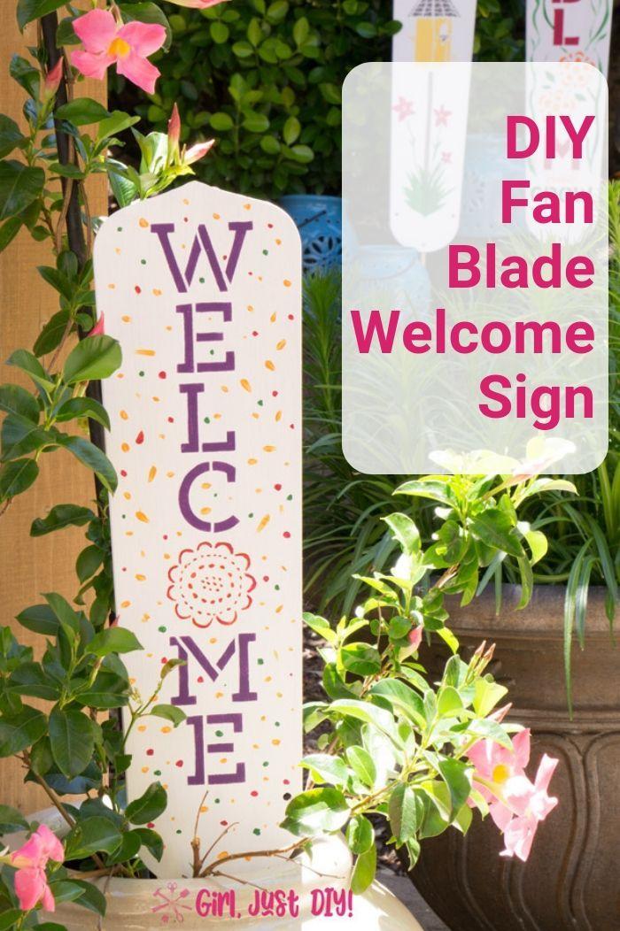 Diy Garden Signs From Fan Blades Girl Just Diy Diy Garden Garden Signs Garden Crafts