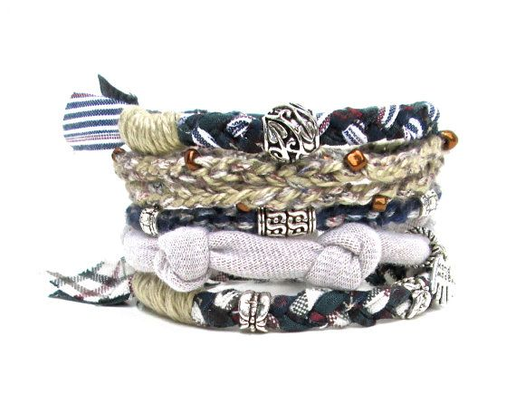 Navy Stacking Bracelet  Nautical Bracelet Stack by peggytrue, $34.00