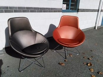 Allermuir 'Conic' chairs 2 x rust colour and 2 x brown. In As New condition