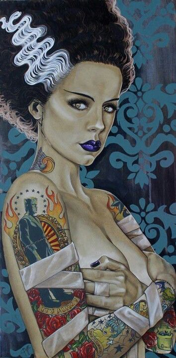 Tattooed Frankenstein's Bride ★ Find more at http://www.pinterest.com/competing/