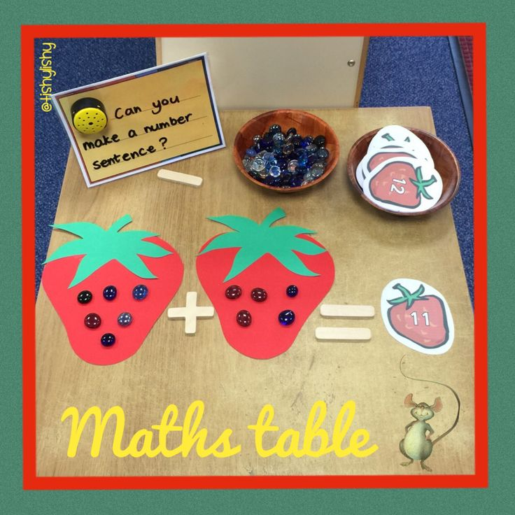 Inspired by The Little Mouse, The Red Ripe Strawberry and the big hungry bear. The maths challenge table. Making number sentences.