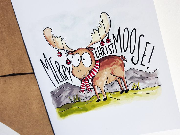 MERRY CHRISTMOOSE - Card - Christmas Card - Cute Simple Pun Funny Love Handmade - For Him/Her, Friend, Holiday Season, Greeting, Work by THEBRANCHANDTHEVINE on Etsy