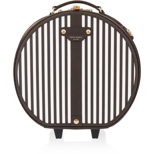 Henri Bendel Centennial Stripe Hatbox Wheelie (5915 MAD) ❤ liked on Polyvore featuring bags, handbags, henri bendel purses, hardware bag, handle bag, henri bendel handbags and strap purse