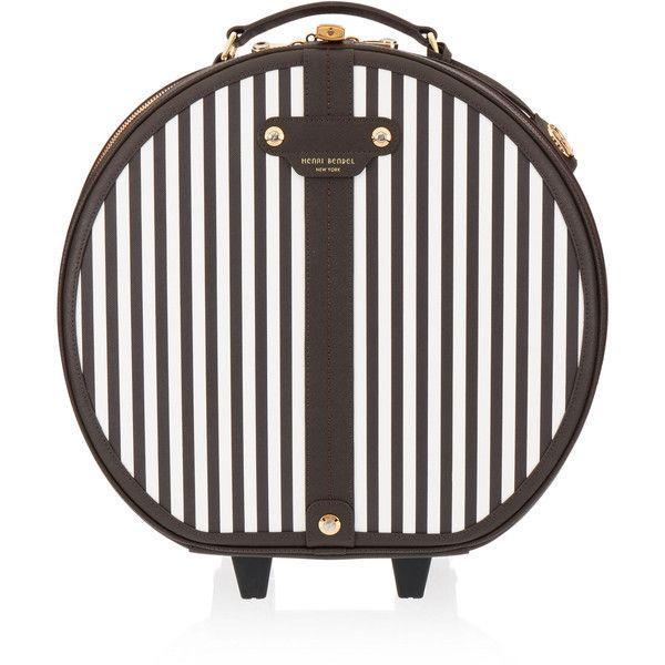 Henri Bendel Centennial Stripe Hatbox Wheelie (5915 MAD) ❤ liked on Polyvore featuring bags, handbags, henri bendel purses, hardware bag, handle bag, henri bendel handbags and strap purse