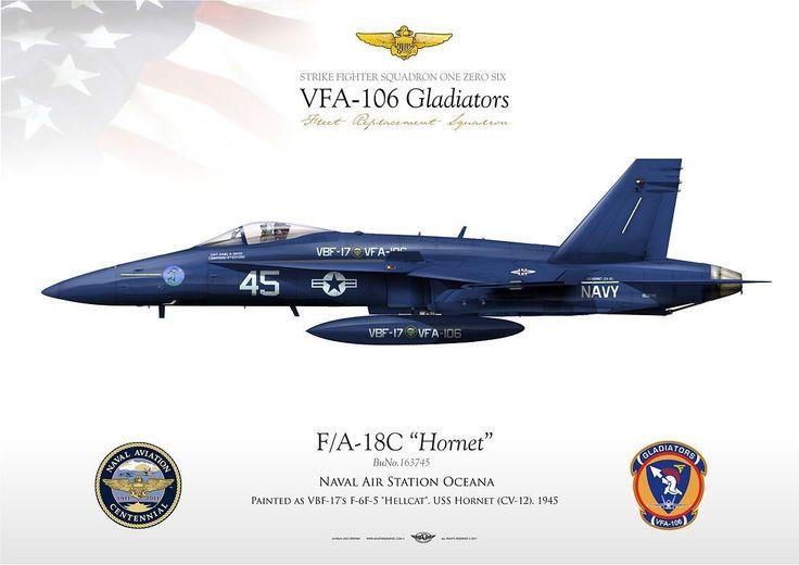 "UNITED STATES NAVY VFA-106 ""Gladiators"" Naval Air Station Oceana Painted as VBF-17's F-6F-5 ""Hellcat"", USS Hornet (CV-12). 1945 F/A-18C VFA-106 ""Gladiators"" JP-1096"