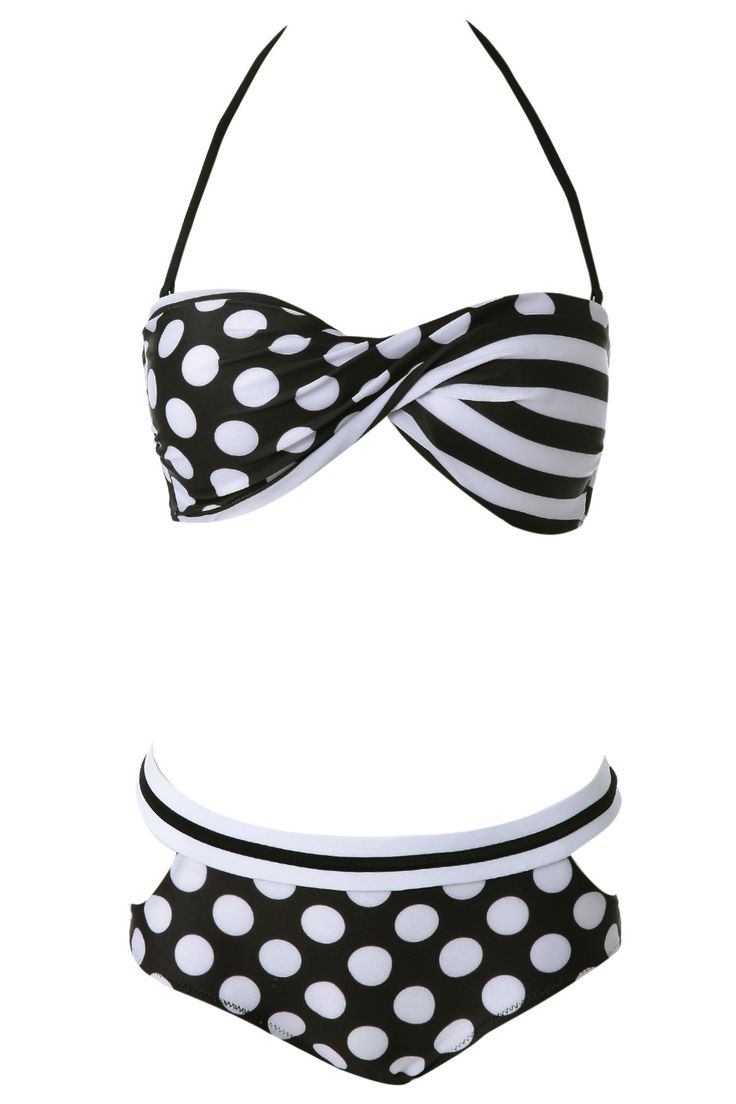 Sexy Halter Polka Dot Lace-Up Women's Bikini Set #jewelry, #women, #men, #hats, #watches, #belts, #fashion