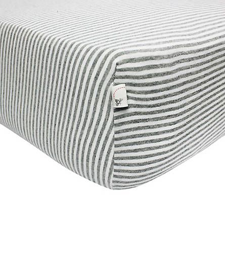 Stripe Fitted Crib Sheet: Color - Heather Grey