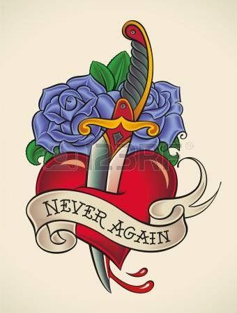 Old-school stijl tatoeage van een dolk door het hart met blauwe rozen op de achtergrond. Stockfoto - 21963728