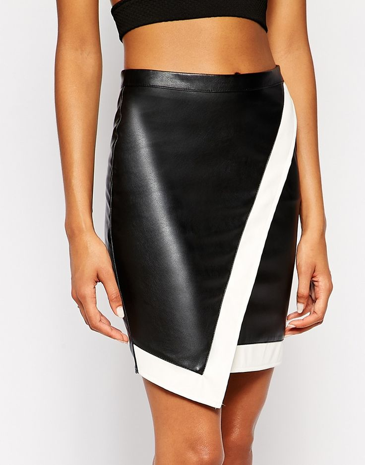 #SALE Black White PU Leather Asymmetric Skirt Shop the #SALE at #Sheinside