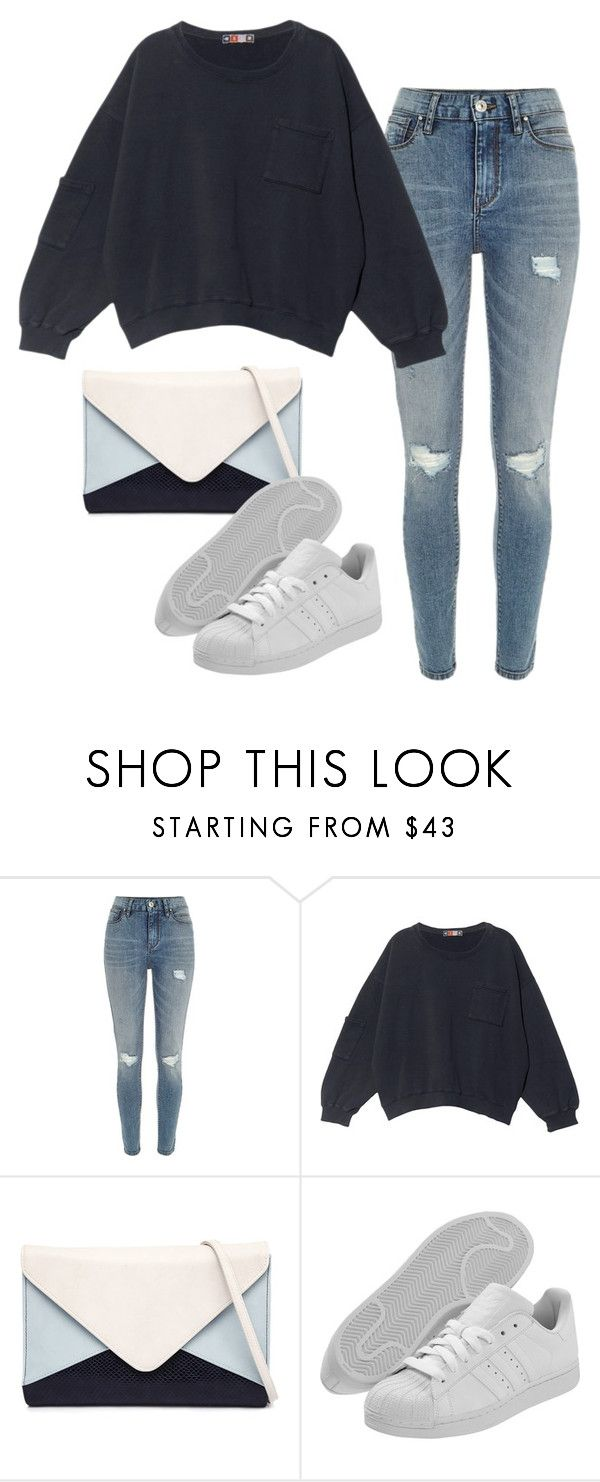 """Sans titre #782"" by alexejrd ❤ liked on Polyvore featuring River Island, MSGM, Jendi and adidas Originals"