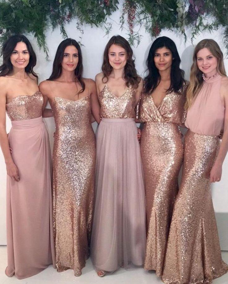 Rose gold sequin squirts, tops and full dresses look AMAZING! Image:   Instagram/weddingofdreams #bridesmaiddresses