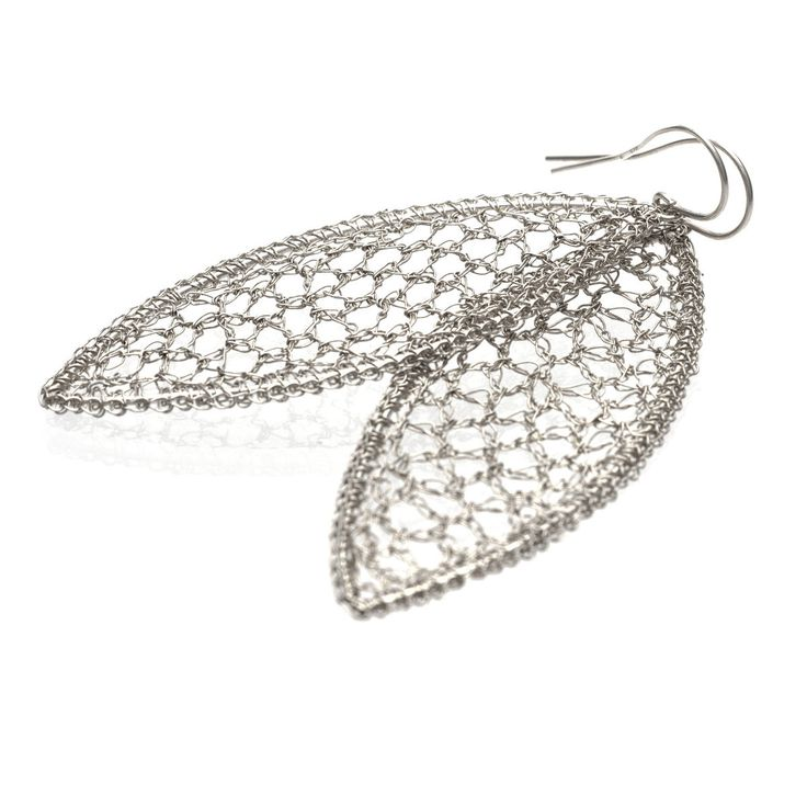 Crocheted Leaf | SILVER DROP EARRINGS - product images of SCHJ