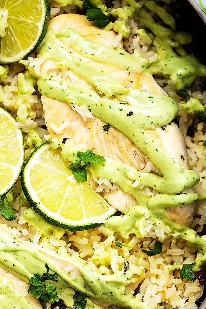 One Pot Cilantro Lime Chicken & Rice | Creme de la Crumb