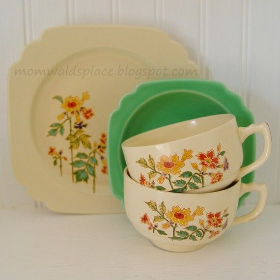 homer laughlin riviera dishes | Homer Laughlin Riviera Columbine Plate Bowl Cups