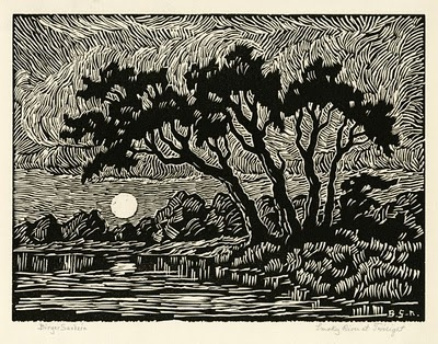Linocut by Birger Sandzen.