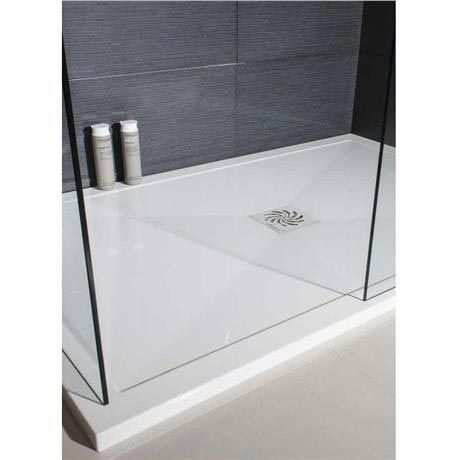 Simpsons - Rectangular Low Profile Stone Resin Shower Tray & Waste - Various Size Options Feature Image