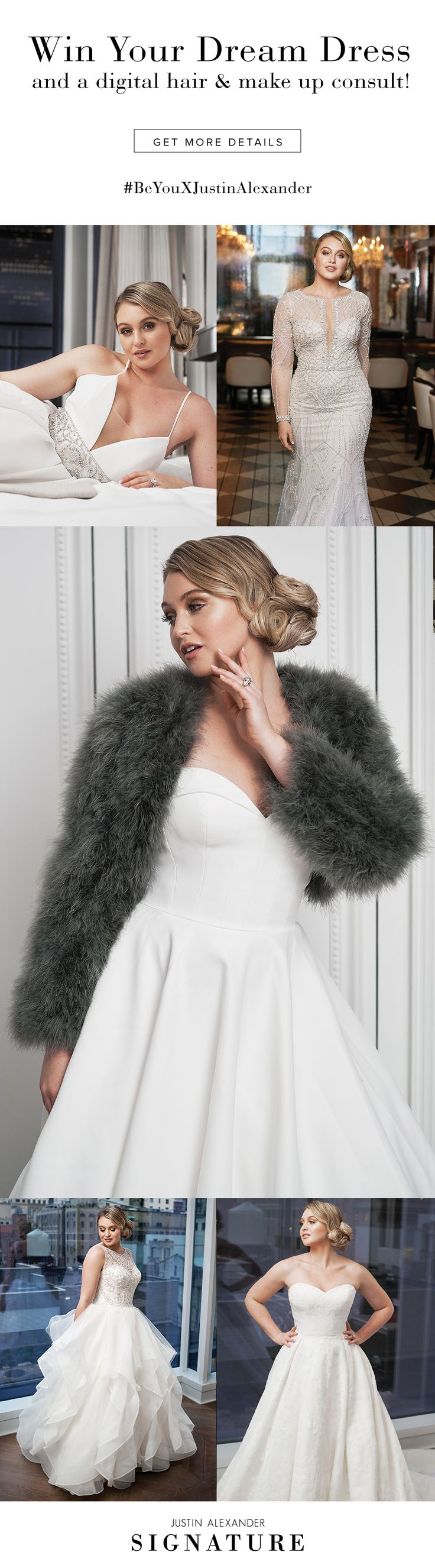 Win a free wedding dress from the Justin Alexander or Justin Alexander Signature collections.  Model: Iskra Lawrence