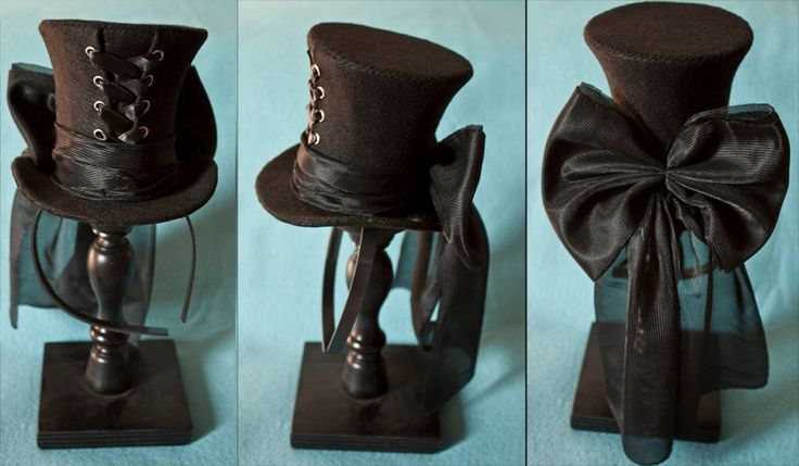 Cunene Goth Black Ribbon Corset Mini Top Hat