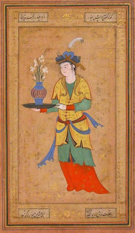 Woman with Vase of Lilies, Illustrated single work, second half 16th century, Opaque watercolor and gold on paper, Iran, Collection of The Metropolitan Museum of Art      Visit MUSEUMVIEWS  Please joinIranica Pictura on Facebook, Pinterest & Tumblr