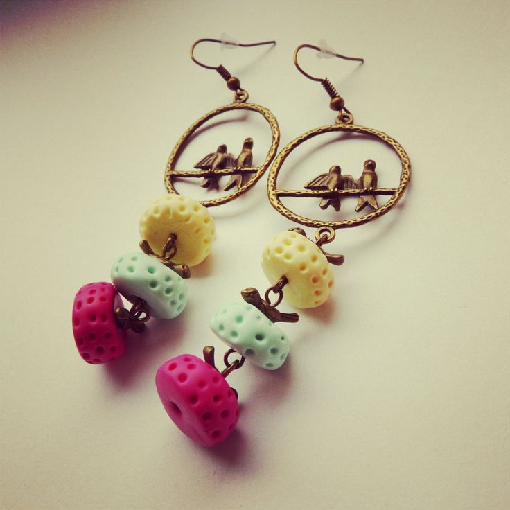 earrings hand made, birds, color FIMO, mint, yellow, pink BY SHARYS