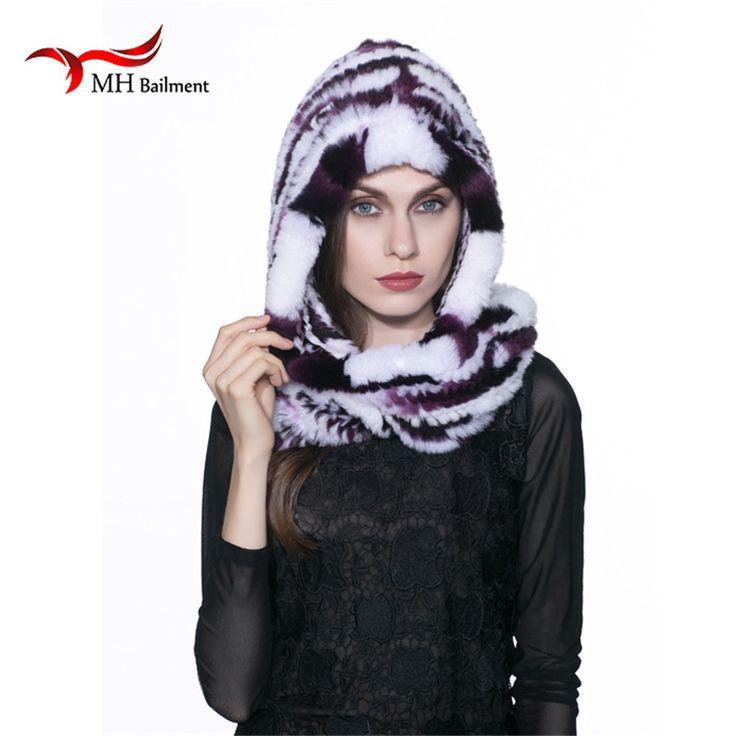 Real Rabbit Fur Hat Scarf Winter fashion  woman's fur coat scarf hat Rex thicker warm women's headgear headgear Russia hot H#5