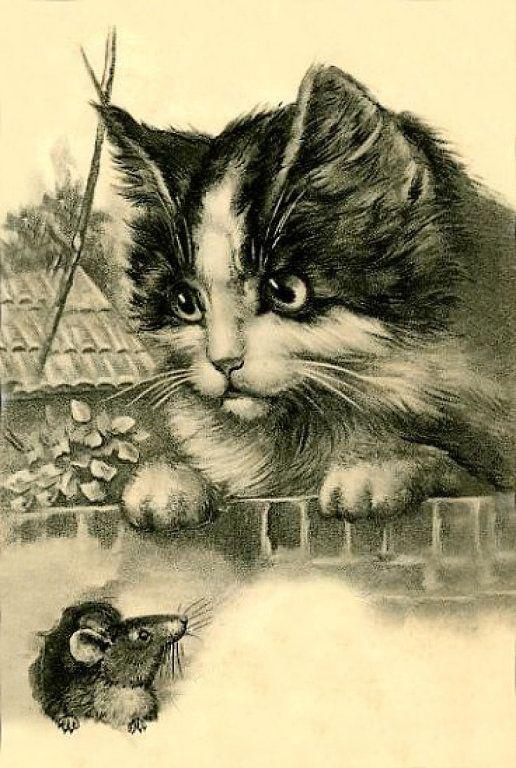 картинки для декупажа котики черно белые показала этому