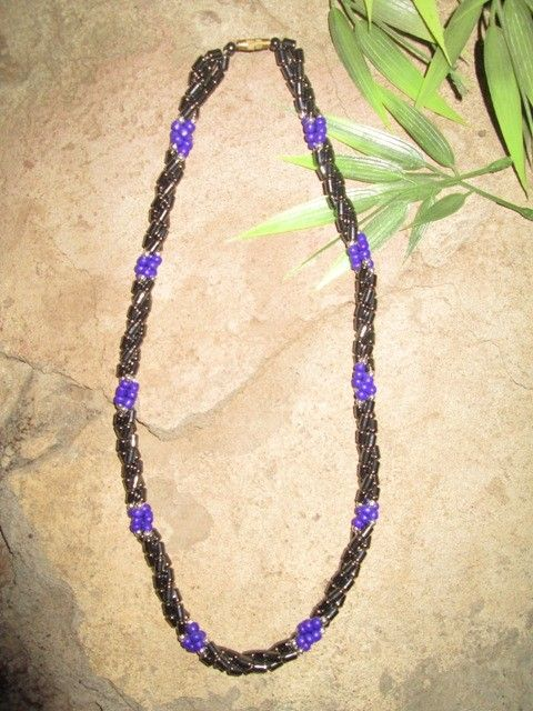 africanartonline.com - African Amatite Necklace Purple, Single strand, mixed with purple glass beads. Gold screw clasp. Length: 25cm FREE SHIPPING WORLDWIDE $24.95  http://africanartonline.com/african-amatite-necklace-purple/