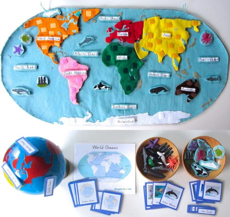 Карта мира из фетра