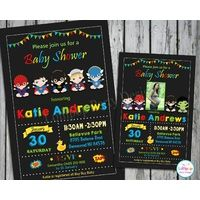 Superhero Baby Shower Personalised Invitation Printed from Lollipop Party Supplies, Sydney Australia.
