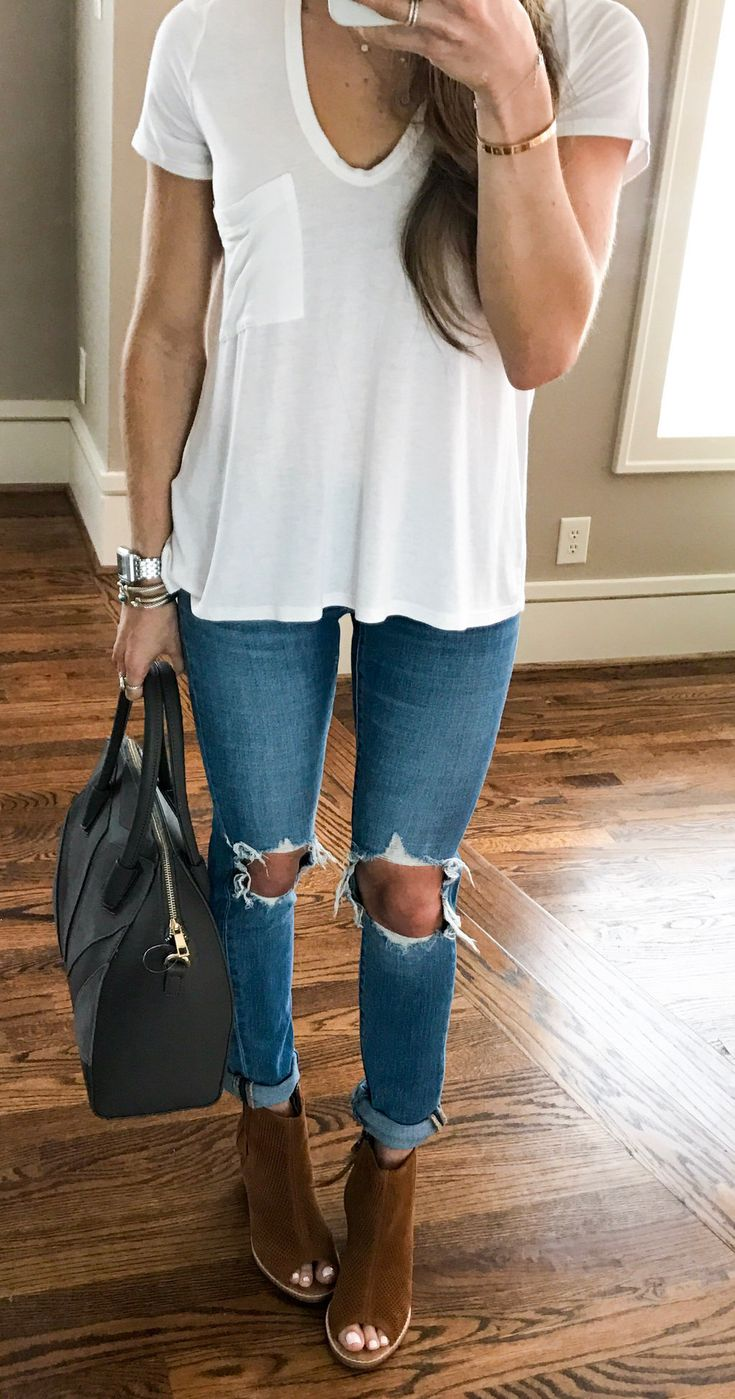 #fall #outfits women's white crew-neck t-shirt and distressed blue skinny jeans. Click To Shop This Look.