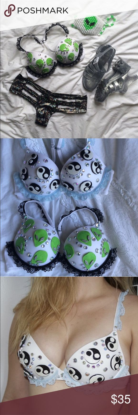 Alien + Yin Yang Glitter Pop Bra Duo Embellished bras perfect for any event, festival, party, or costume! Push up with racerback convertible straps. Both size 34B/32C Intimates & Sleepwear Bras