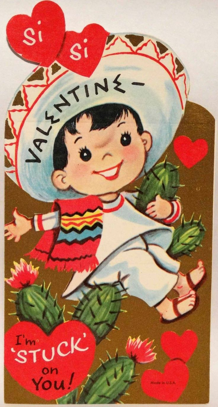 50s Mexican Boy Is Stuck on You Cactus Vtg Unused Diecut Valentine Card