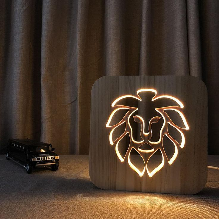 Kundenspezifische Led 3d Lampe Kreative Lowe Tier Holztisch Lampen Crative Geschenk Holz Tisch Diy Holztischlampen Holzleuchte Lampe