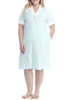 Miss Elaine Women's Plus Size Zip Up Robe - Blue - 2X