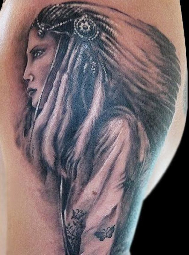 Indian Girl Tattoo Design