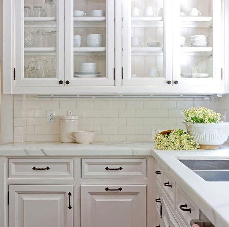 KITCHEN - White Cabinets + Black Hardware + Wood Open ...