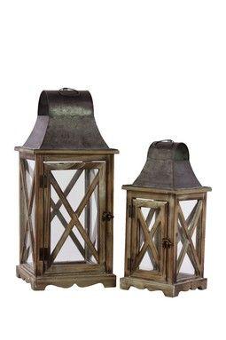Rustic Wood & Metal Lanterns.