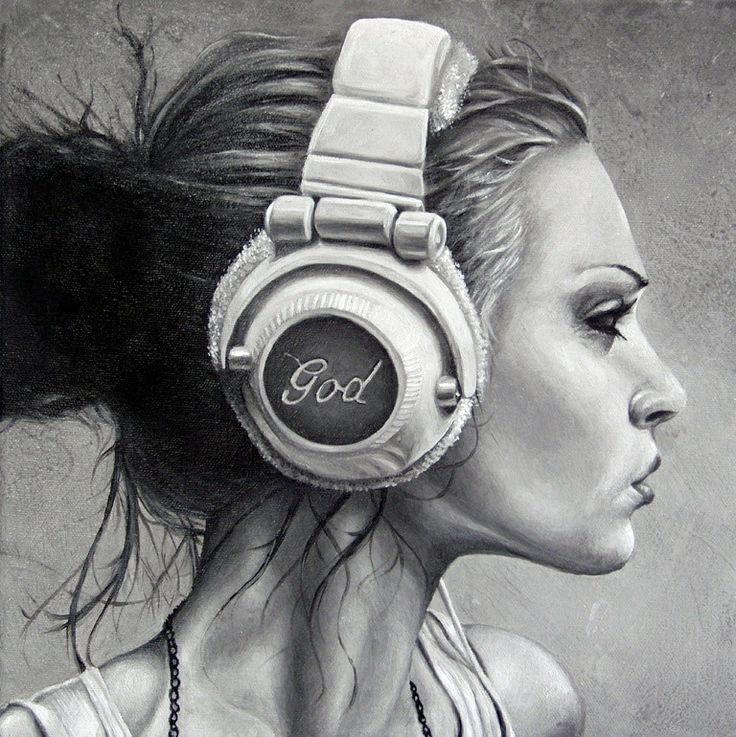 #art #women #black #white #drawing #headphones #music ...