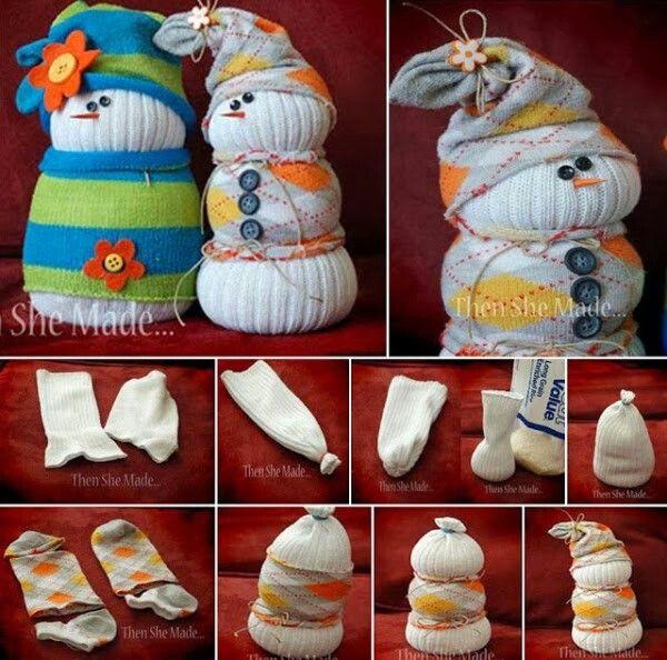 Pupazzi di neve con i calzini
