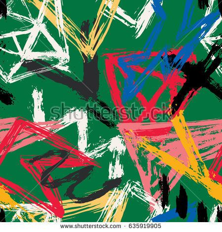 Vector hand draw seamless pattern with abstract geometric shapes in memphis style. Background for printing brochure, poster, textile design, wear. Modern trendy graphic print for hipsters.