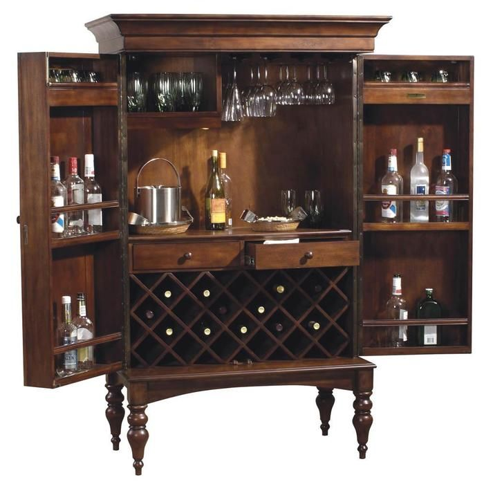 Howard Miller Cherry Hill Home Bar Wine and Liquor Cabinet - perhaps a cool-looking drinks cabinet like this (but this is reeeeaaly expensive) would be the best compromise?