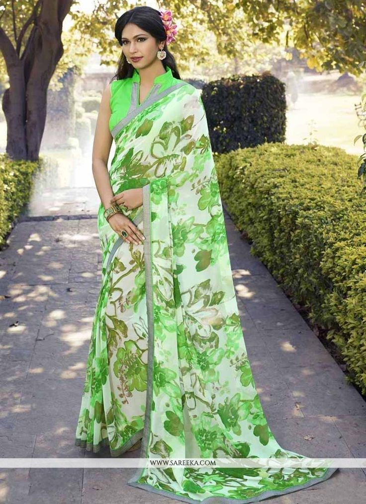 We have ensemble a symphony of enchanting piece to restyle your senses. Make the heads flip as soon as you costume up with this charming green georgette casual saree. The brilliant dress creates a dra...