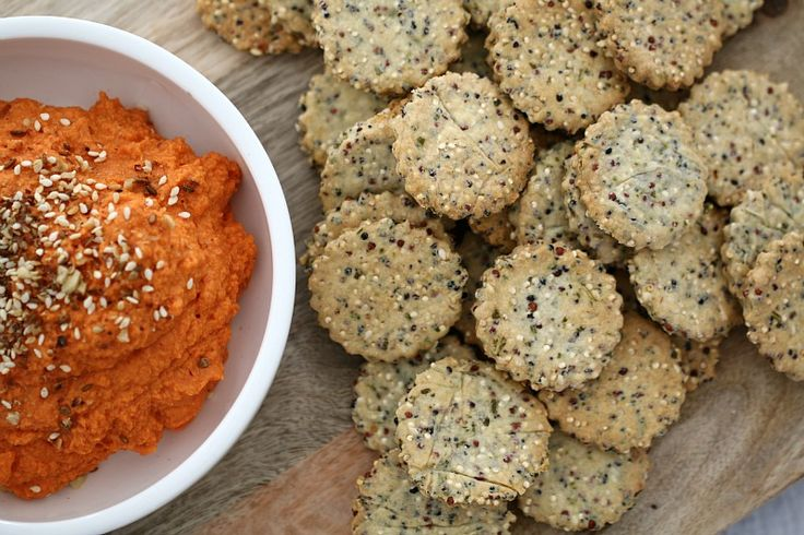Our Thermomix Rosemary & Garlic Crackers are quick and easy to make. Serve them with one of our classic dips for the perfect snack!