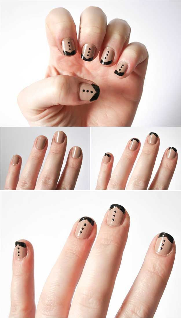 Best French Manicure Tutorials To Do At Home Tuxedo French