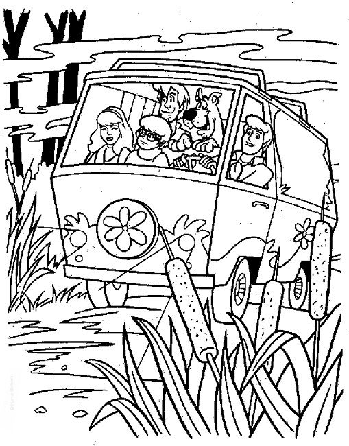 Scooby Doo Mystery Machine Van Coloring Page