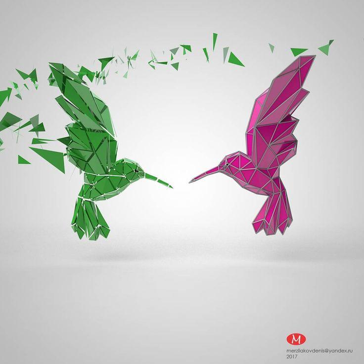 0 отметок «Нравится», 1 комментариев — мерзляков (@denismerzliakov) в Instagram: «#concept #lowpoly #3dmodel #model #art #hummingbird #motion #cinema #designer #green #bird #animal…»