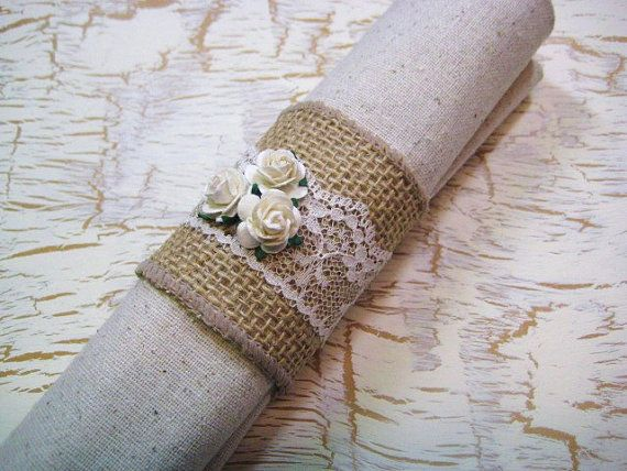 RESERVED FOR LESLIE 2 Burlap & lace napkin rings with roses. .  ****This listing is for a set of 2.****