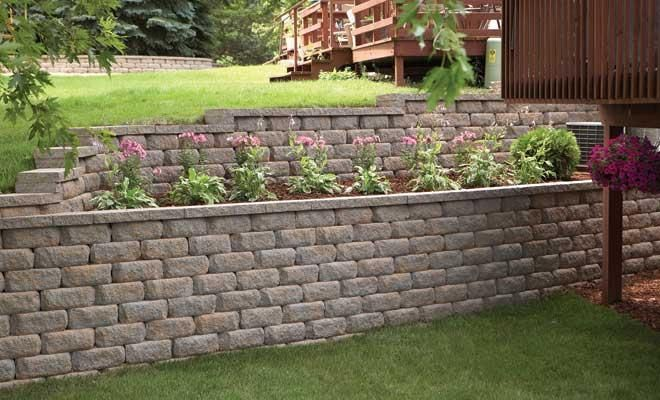 wall designs with square block diamond stone straight retaining wall